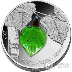 SUMMER BIRCH LEAF Crystal Leaves Four Seasons Silver Coin 1000 Francs Guinea 2017