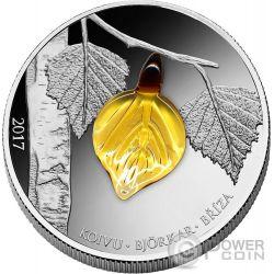 FALL BIRCH LEAF Crystal Leaves Four Seasons Silber Münze 1000 Francs Guinea 2017