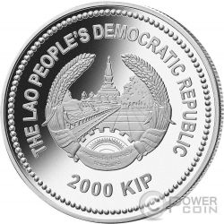 RABBIT Jade Lunar Year 2 Oz Moneda Plata 2000 Kip Laos 2011