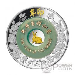 CONIGLIO Giada Rabbit Lunar Year Moneta Argento 2 Oz 2000 Kip Laos 2011