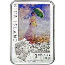MONET Claude Japanese Bridge Moneda Plata 1$ Niue 2010
