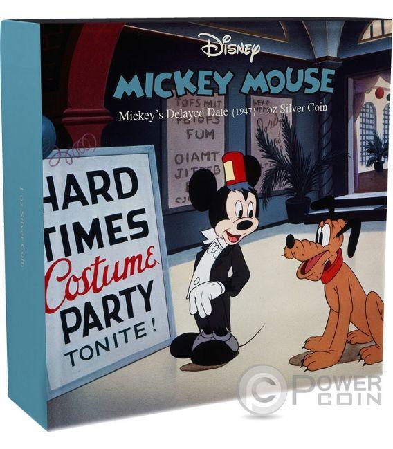 MICKEYS DELAYED DATE Topolino Through The Ages Disney 1 Oz Moneta Argento 2$ Niue 2017