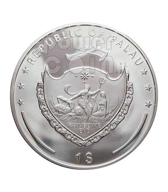 SNOWFLAKE Swarovsky Crystal Moneda Plata 1$ Palau 2006