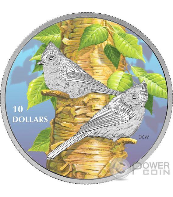 TUFTED TITMOUSE Birds Among Nature Colours Silver Coin 10$ Canada 2017