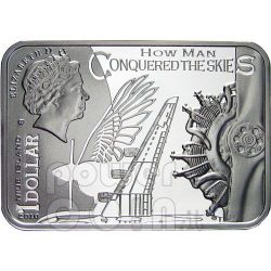 ICARUS How Man Conquered Skies Silber Münze 1$ Niue 2010