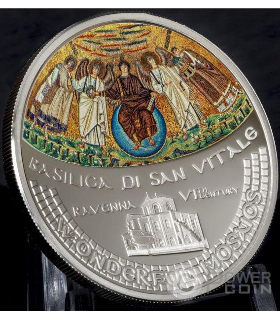 BASILICA SAN VITALE Church Wonderful Mosaics 1 Oz Silver Coin 5$ Cook Islands 2017