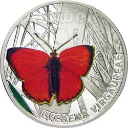SCARCE COPPER Farfalla Moneta Argento 1$ Niue 2010
