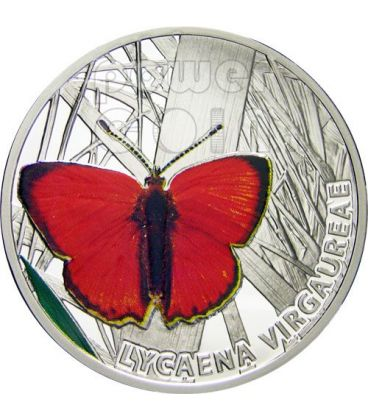 SCARCE COPPER Farfalla Moneta Argento 1$ Niue 2010