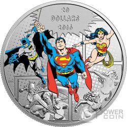 TRINITY Trinidad DC Comics Originals 1 Oz Moneda Plata 20$ Canada 2016
