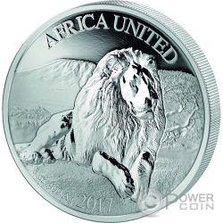 AFRICA UNITED Lion 3 Oz Серебро Монета 1500 Франков Кот-д-Ивуар Бенин Конго Мали Нигер 2017