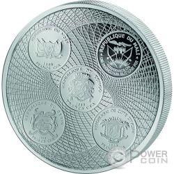 AFRICA UNITED Unida Leon 3 Oz Moneda Plata 1500 Francos Ivory Coast Benin Congo Mali Niger 2017