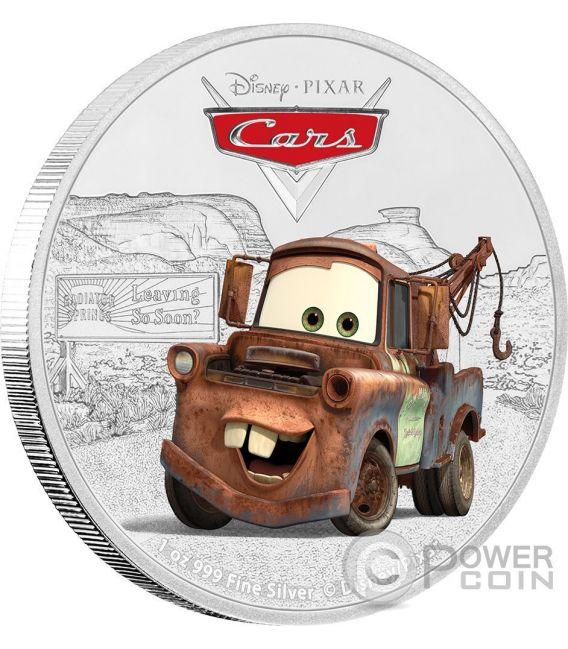 TOW MATER Cars Disney 1 Oz Silver Coin 2$ Niue 2017