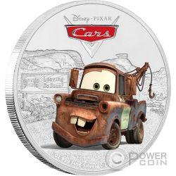 TOW MATER Carl Attrezzi Cricchetto Cars Disney 1 Oz Moneta Argento 2$ Niue 2017
