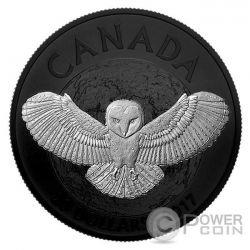 BARN OWL Lechuza Blanca Nocturnal By Nature 1 Oz Moneda Plata 20$ Canada 2017