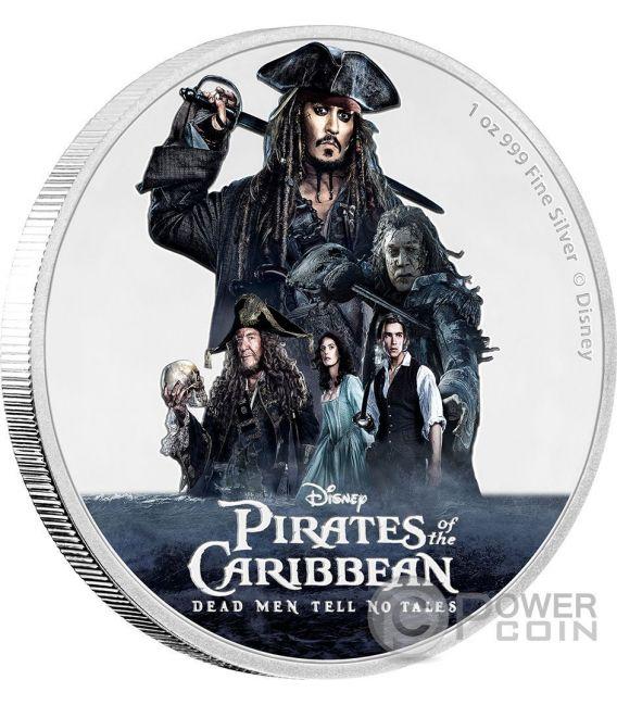 PIRATES OF THE CARIBBEAN Dead Men Tell No Tales Disney 1 Oz Silver Coin 2$ Niue 2017