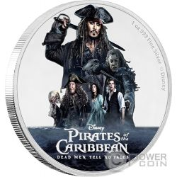 PIRATES OF THE CARIBBEAN Dead Men Tell No Tales Disney 1 Oz Silver Coin 2$ Niue 2017