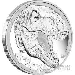 TYRANNOSAURUS REX Dinosaur 5 Oz Silver Coin 5$ Tuvalu 2017