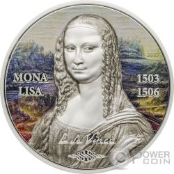MONA LISA Gioconda Art Revived 1 Oz Moneta Argento 5$ Palau 2017