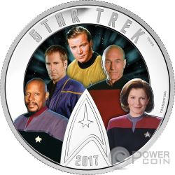 FIVE CAPTAINS Star Trek Glow In The Dark 2 Oz Silver Coin 30$ Canada 2017