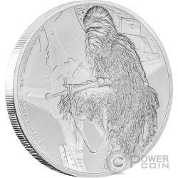 CHEWBACCA Chewbecca Star Wars Classic 1 Oz Silver Coin 2$ Niue 2017