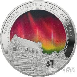 SOUTHERN LIGHTS Aurora Australis 1 Oz Moneda Plata 1$ New Zealand 2017