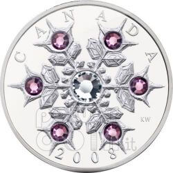 SNOWFLAKE AMETHYST Silber Münze Swarovski 20$ Canada 2008