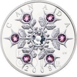 SNOWFLAKE AMETISTA Amethyst Moneta Argento Swarovski 20$ Canada 2008
