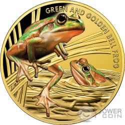 GREEN AND GOLD BELL FROG Rana Cerulea Endangered Extinct 1 Oz Moneta Oro 100$ Niue 2017