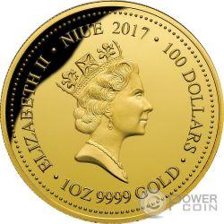 GREEN AND GOLD BELL FROG Rana Verde Endangered Extinct 1 Oz Moneda Oro 100$ Niue 2017