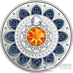 GEMINI Zodiac Swarovski Crystal Silver Coin 3$ Canada 2017