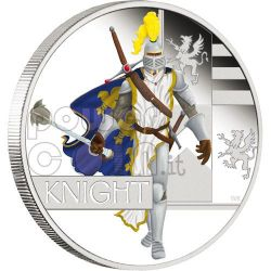 MEDIEVAL KNIGHT Great Warrior Silver Coin 1$ Tuvalu 2010
