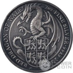 DRAGON QUEEN BEASTS Antique Finish 2 Oz Silver Coin 5£ United Kingdom 2017
