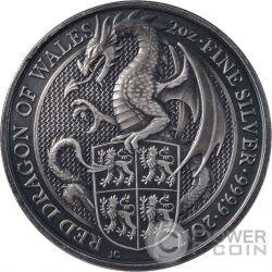 DRAGON QUEEN BEASTS Drago Regina Bestie Finitura Antica 2 Oz Moneta Argento 5£ United Kingdom 2017