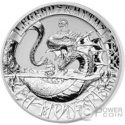 SEA MONSTER Mostro Marino Legends And Myths 2 Oz Moneta Argento 5$ Solomon Islands 2017