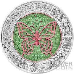 MICROCOSM Mikrokosmos Butterfly Niobium Bimetallic Серебро Монета 25€ Euro Австрия 2017