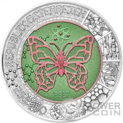 MICROCOSM Mikrokosmos Schmetterling Niobium Bimetallic Silber Münze 25€ Euro Austria 2017