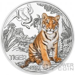TIGER Tigre Colourful Creatures Glow In The Dark Moneda 3€ Euro Austria 2017
