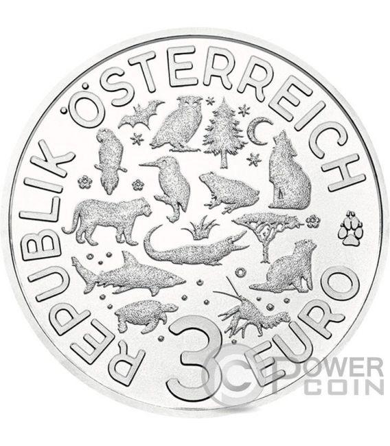 TIGER Colourful Creatures Glow In The Dark Münze 3€ Euro Austria 2017
