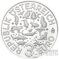 TIGER Tigre Colourful Creatures Glow In The Dark Moneta 3€ Euro Austria 2017
