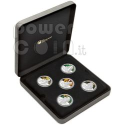 TANKS OF WWII World War 5 Silver Coin Set 1$ Tuvalu 2010