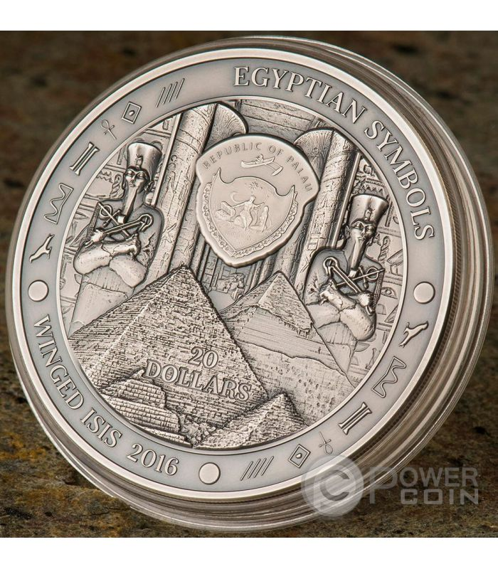 Winged Isis Diosa Egyptian Symbols 3 Oz Moneda Plata 20