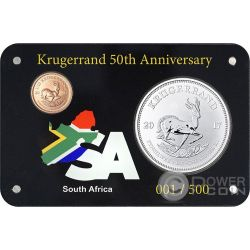 KRUGERRAND 50 Anniversario Set 1 Oz Moneta Argento 1 Rand Oro 0.1 Sud Africa 2017