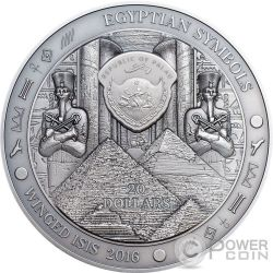 WINGED ISIS Egyptian Symbols 3 Oz Silver Coin 20$ Palau 2016