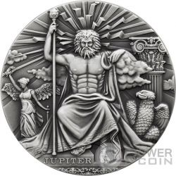 JUPITER Roman Gods 2 Oz Moneda Plata 2$ Niue 2016