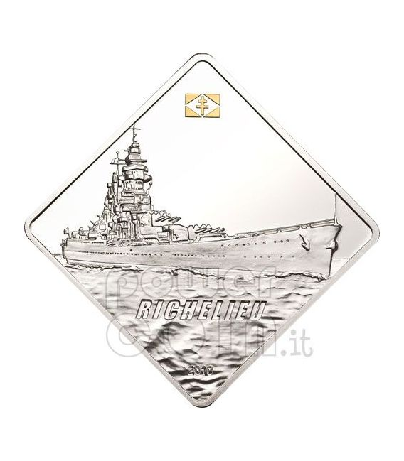 RICHELIEU Battleship 2 Oz Moneda Plata 10$ Palau 2010