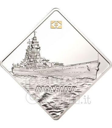 RICHELIEU Battleship 2 Oz Silver Coin 10$ Palau 2010