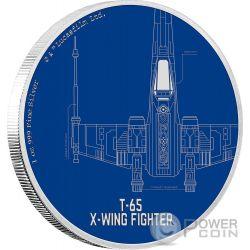 T 65 X WING FIGHTER Ala Caza Star Wars Ships 1 Oz Moneda Plata 2$ Niue 2017