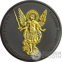 ARCHANGEL MICHAEL Shade of Enigma Black Ruthenium 1 Oz Silver Coin 1 Hryvnia Ukraine 2017
