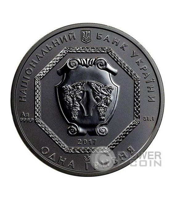 ARCHANGEL MICHAEL Shade of Enigma Black Ruthenium 1 Oz Silber Münze 1 Hryvnia Ukraine 2017
