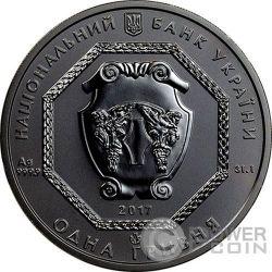ARCHANGEL MICHAEL Shade of Enigma Black Ruthenium 1 Oz Silver Coin 1 Hryvnia Ukraine 2017